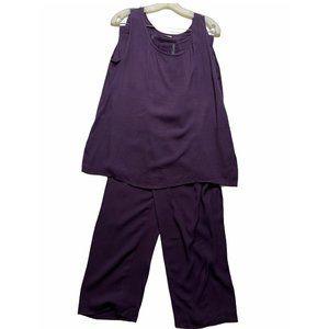 Ladies Purple Rayon 2pc Outfit Set Tank Top Pants